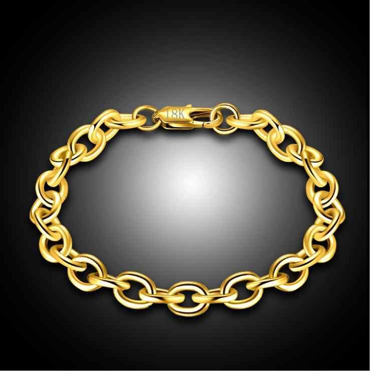 1 sztuk 8mm Big Chunky mężczyzna kobiet 585 złoty kolor Link Rolo łańcuchy bransoletki Pulseiras de Ouro biżuteria o długości 20cm