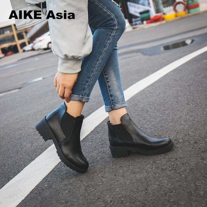 New Hot Style Fashion Women Boots Round Head Thick Bottom Pu Leather Waterproof Woman Martin Boots Ankle Spring/autumn #F599 цена 2017