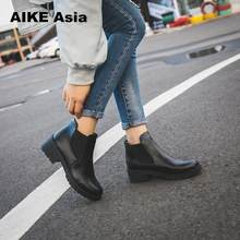 New Hot Style Fashion Women Boots Round Head Thick Bottom Pu Leather Waterproof Woman Martin Boots Ankle Spring/autumn #F599(China)