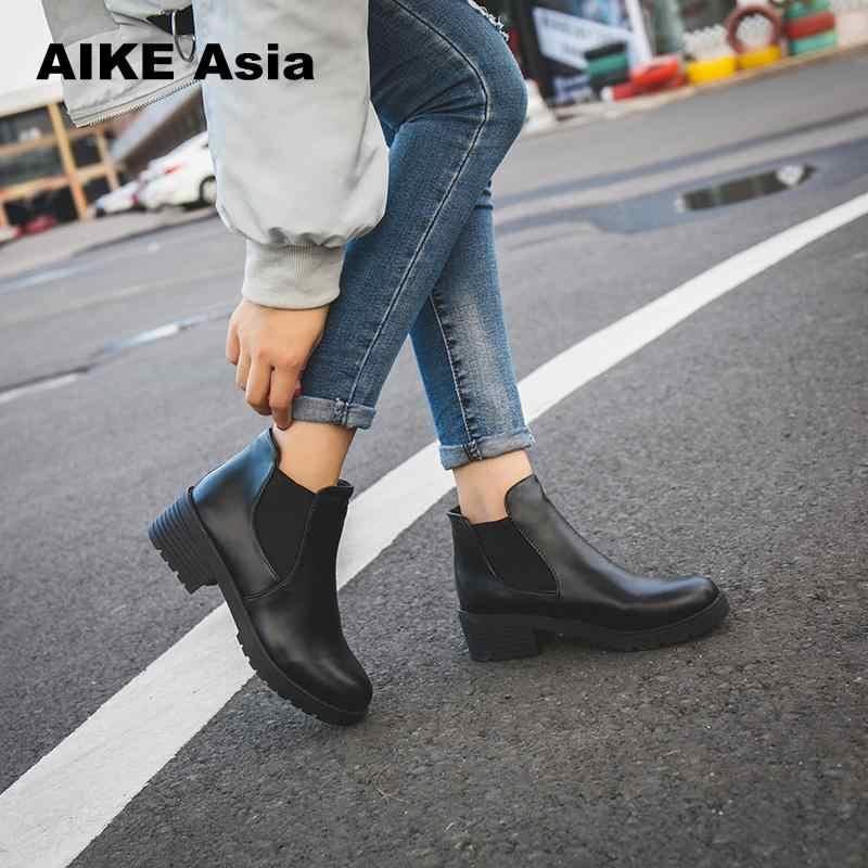 ใหม่ร้อนแฟชั่นสไตล์ผู้หญิงรองเท้ารอบหัวหนาด้านล่าง Pu หนังกันน้ำผู้หญิง Martin Boots ข้อเท้าฤดูใบไม้ผลิ/ฤดูใบไม้ร่วง # F599