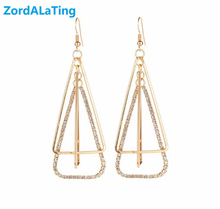 2019 new fashion Exaggerated contracted geometry triangle hollow out high-end rhinestone earrings for women pendientes jewelry недорго, оригинальная цена