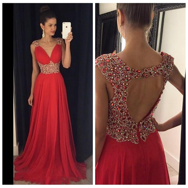 9e5619eb78 2017 Red Long Crystals Beaded Prom Dresses V Neck Chiffon A-line Sexy  Evening Gowns for Teens Chiffon Formal Open Back Sexy