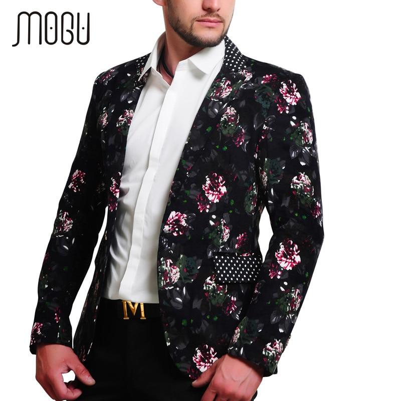 MOGU 2017 hommes Floral Blazer 100% coton fleur imprimer Blazers pour hommes grande taille Slim Fit Blazer hommes Costume Homme Blazer
