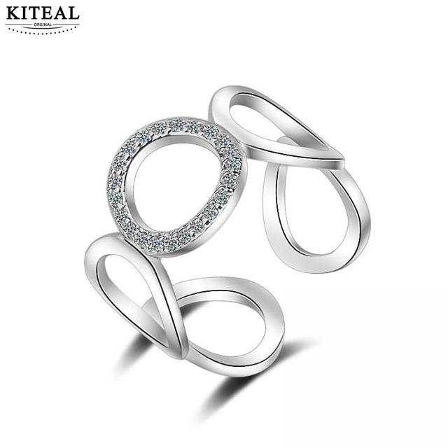 Kiteal geometric simple circle Silver Rings For Women Mosaic CZ Zircon Resizable Ring bague femme jewelry 925 S-R219