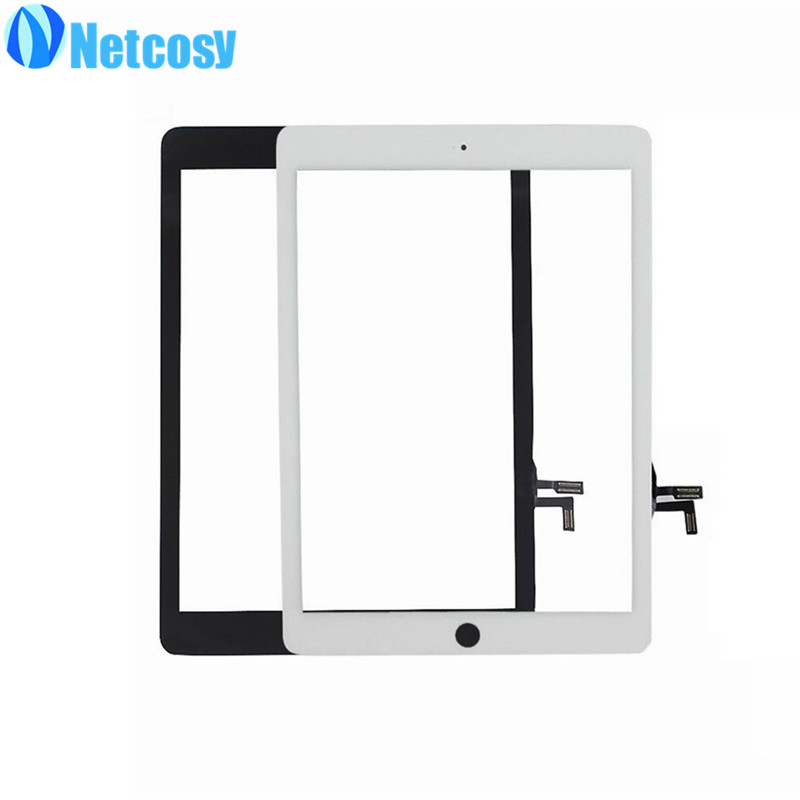 Netcosy 10pcs/Lot Black/White Touchscreen for ipad 5 A1822 A1823 Touch screen digitizer panel For ipad Air 1 A1822 A1823 Tablet