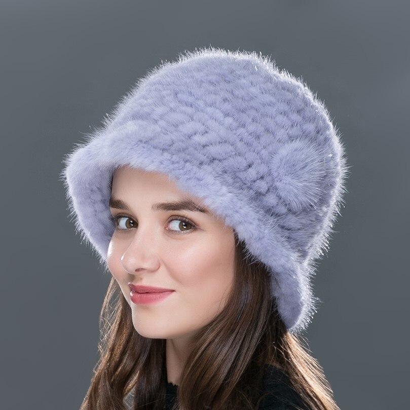 ФОТО LTGFUR New Fashion Women's Hats 100% Real Mink Fur Caps For Women Girls Knitting Woolen Weave Hat Female Winter Autumn Style