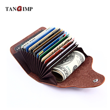 TANGIMP Split Leather Card Holder Wallets Unisex Female Male 15 Card Slot Credit Card Holders Women Pillow Organizer Purse