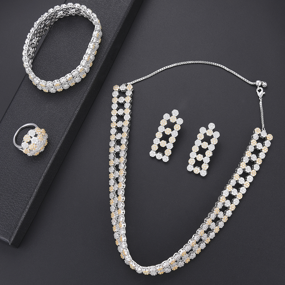 Luxury Wedding Jewelry Sets Silver Cubic Zirconia Hollow Necklace Earrings Bangle Ring Set For Women Engagement Wedding Luxury Wedding Jewelry Sets Silver Cubic Zirconia Hollow Necklace Earrings Bangle Ring Set For Women Engagement Wedding