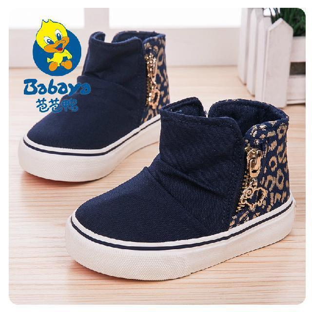 2017 ocasional Otoño leopard prints side zip deslizamiento sobre lienzo suave bebé infantil niñas primeros caminante toddle niños sneakers zapatos