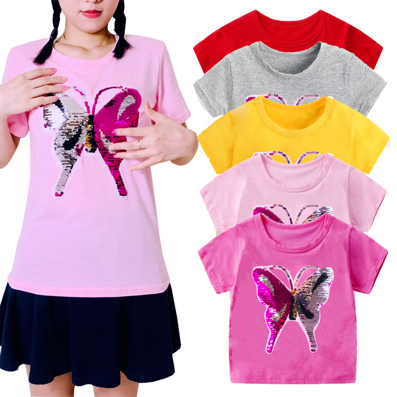 2019 Reverse discoloration face flip double sequins butterfly children's t-shirts boy girl t shirt kids cartoon tshirts clothes(China)