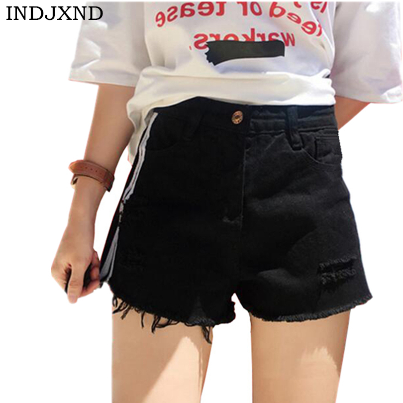 INDJXND Summer Stripe Denim   Shorts   Casual Slim Waist Women's   Short   Jeans For Women High Waist Beach Sexy Tassel Ripped   Shorts