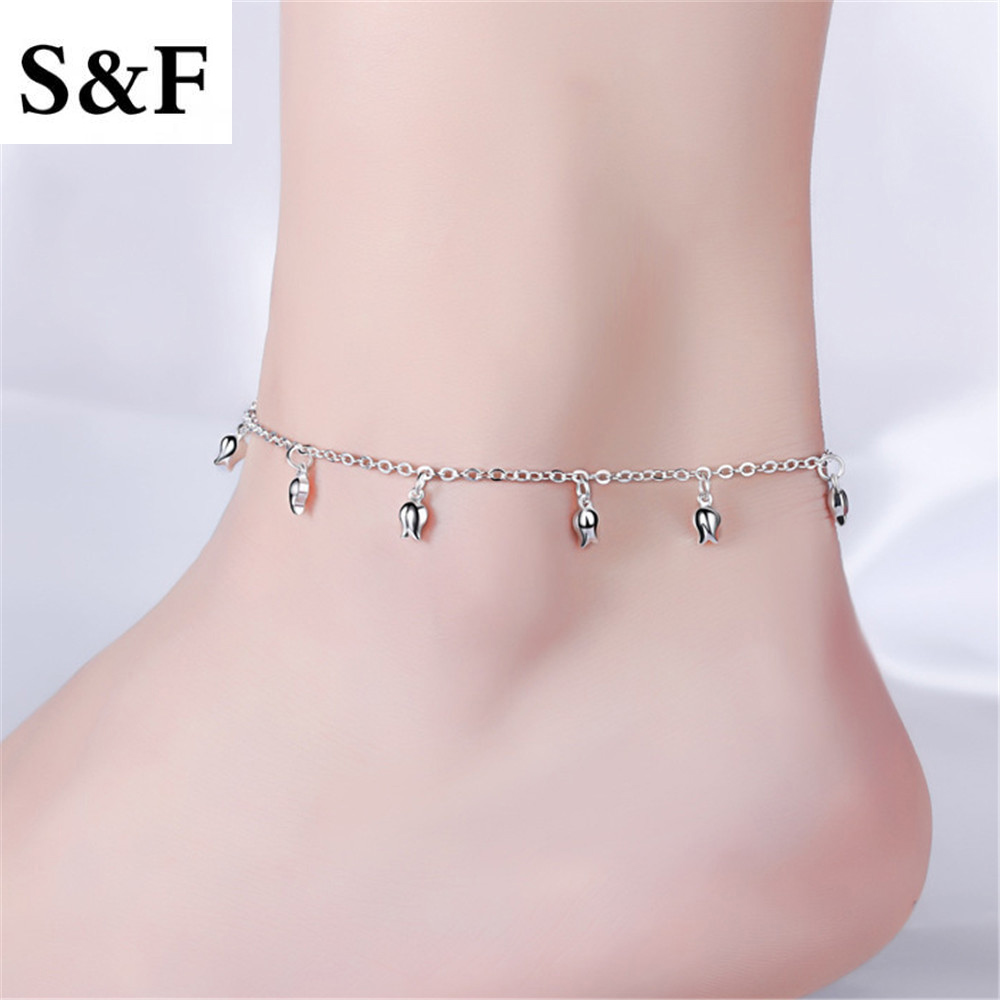 Flower Charm Foot Bracelet Leg Chain Women Sexy 925 Stamped Silver Plated Titanium Stainless Steel Silver Fashion Ankle Anklet men beaded bracelet red
