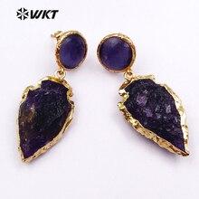 WT E424 도매 천연 석재 귀걸이 화살촉 모양 드롭 귀걸이 골드 금속 도금 여성 보석 10 짝/몫/많은