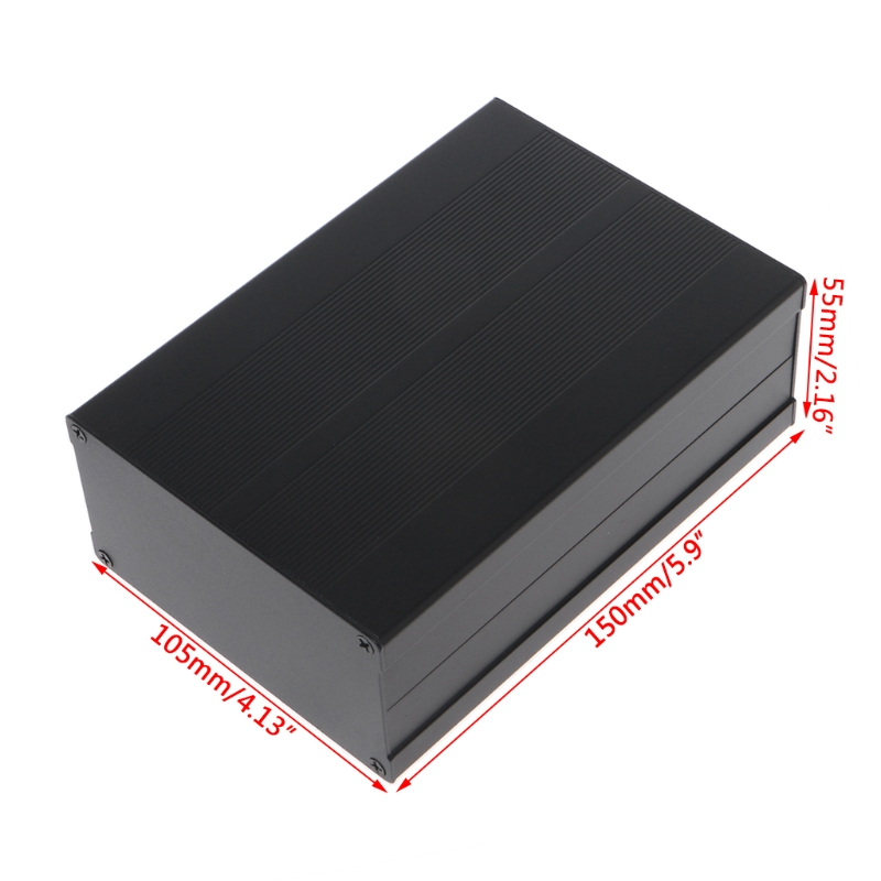 OOTDTY 150x105x55mm DIY Aluminum Enclosure Case Electronic Project PCB Instrument Box black electronic project case aluminum circuit board enclosure box 150x105x55mm with screws