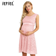 fad6712661 Women Maternity Elegant Floral Lace Casual Dress Overlay Sleeveless Baby  Shower Party Cocktail Dress with Ribbon