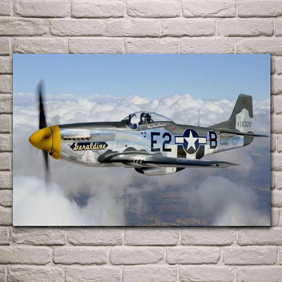 classic P 51 mustang propeller airplane Living room home wall modern art decor wood frame fabric posters KA003 image