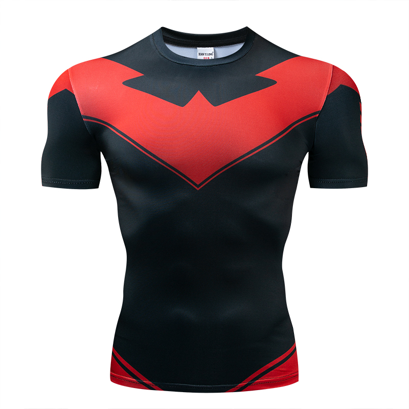 Red Nightwing Short Sleeve Compression   Shirts   Thanos 3D Printed   T     shirts   Men 2018 Summer NEW Crossfit Top For Male Fitness Cloth