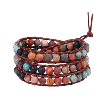 3 Wrap Leather Natural Stone Bracelets Beaded Bracelet Fashion Women Bohemian Drop shipping