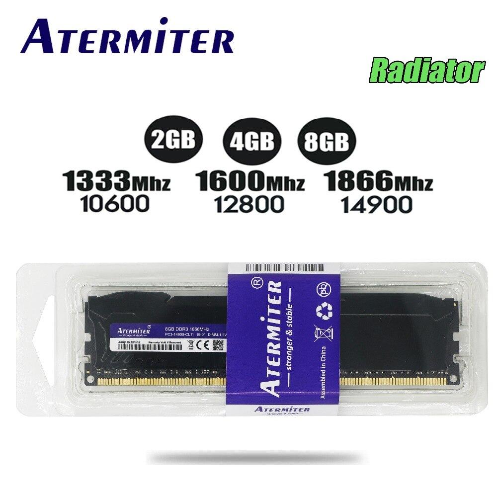 Nuevo 8 GB DDR3 PC3 1866 Mhz 1333 MHz para PC de escritorio DIMM memoria RAM 240 pines para AMD sistema alta Compatible 4g 2g 1600 Mhz del radiador