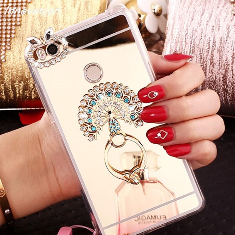 Luxo Glitter Chapeamento Espelho Macio TPU Caso de Telefone de Silicone Para Samsung Galaxy A3 A5 A7 2017 J5 J7 Prime de Volta tampa Anel Titular
