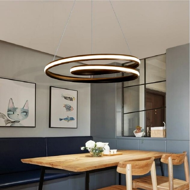 Post Modern Art Restaurant Pendant Lamp Nordic Simple Dining Table Bedside Bar Two Round Circle Led Lights