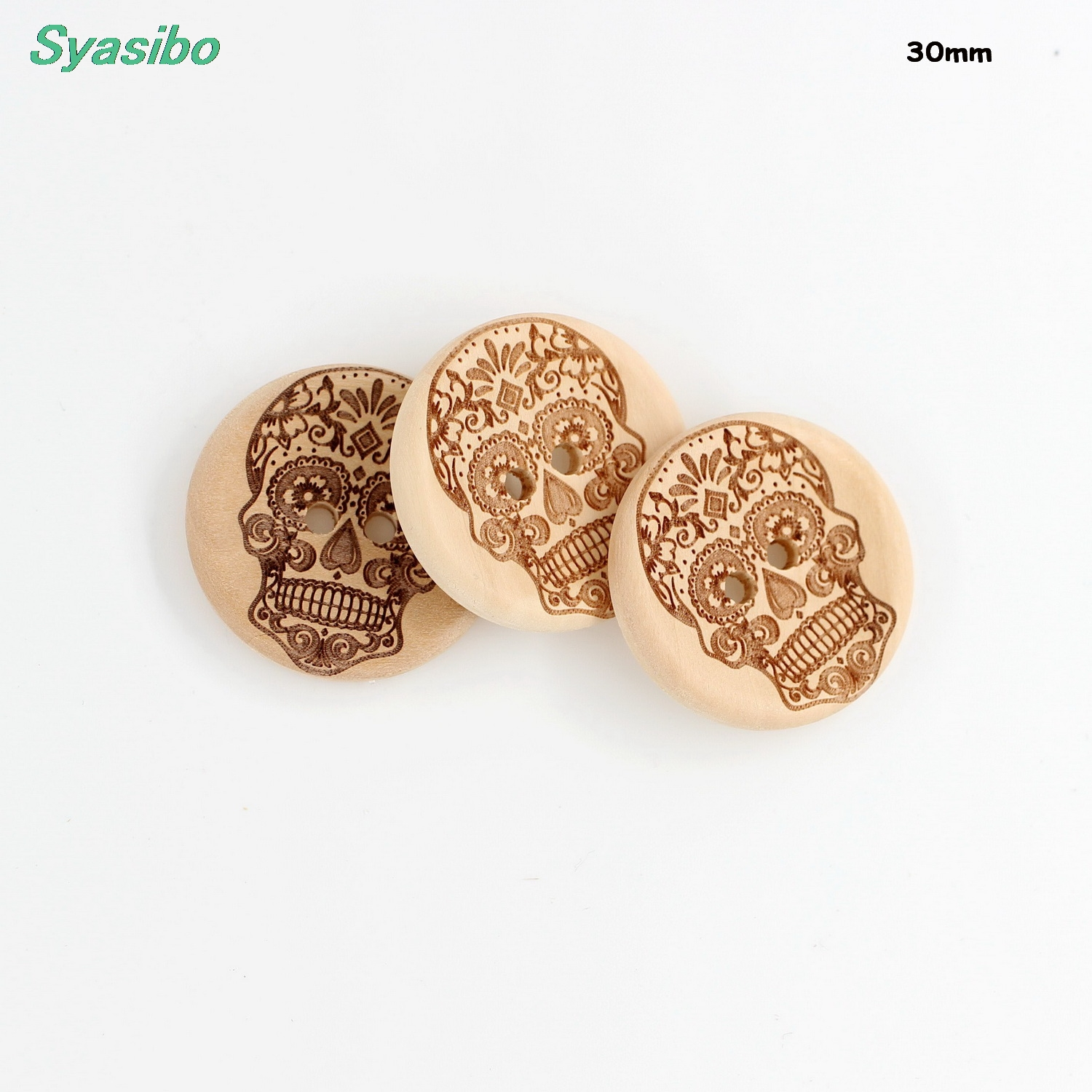 (20pcs/lot) <font><b>30mm</b></font> Unfinished Natural Wooden <font><b>Button</b></font> Supplies Skull Sewing <font><b>Button</b></font> Party Deco 1.2