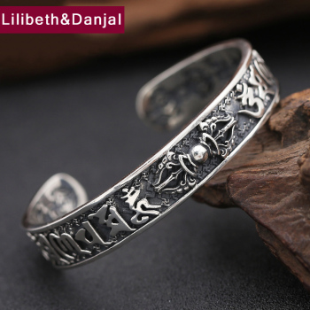 925 Sterling Thai Silver Bangle Men Jewelry Buddha Mantra Instruments Bracelet Bangle Women Gift Fine Jewelry Thailand B6 1