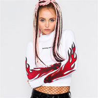 Flame Print Tee Stand Neck T Shirt Women Long Sleeve Tops Fashion Slim Letter Print Cropped