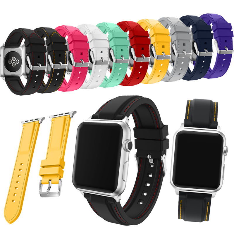 Sport Silicone band strap for apple watch 42mm 38mm bracelet wrist band watchband for series 1 /2 /3 accessories jansin 22mm watchband for garmin fenix 5 easy fit silicone replacement band sports silicone wristband for forerunner 935 gps