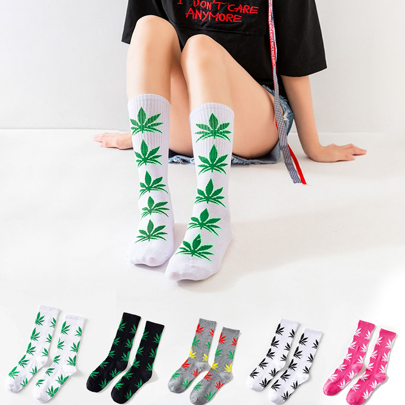 spring Summer   Socks   Quality Harajuku chaussette Style Weed   Socks   For Women Men's Cotton Hip Hop   Socks   Female Meias Calcetines