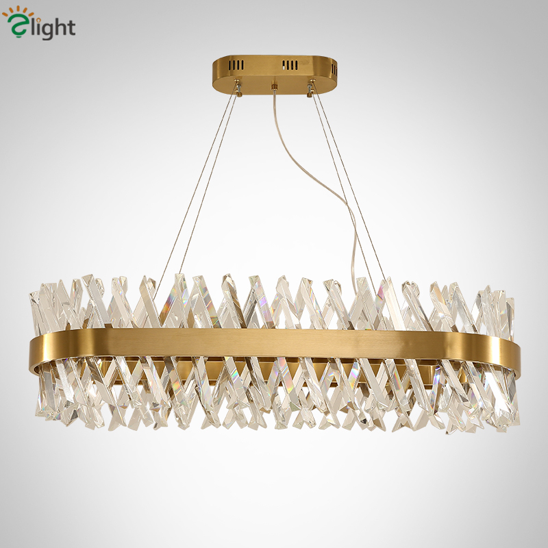 Dining Room Rectangle Led Pendant Lamp Lustre K9 Crystal Suspend Lamp Gold Metal Hanging Lamp Drop Light For Living Room modern fashion luxurious rectangle k9 crystal led e14 e12 6 heads pendant light for living room dining room bar deco 2239