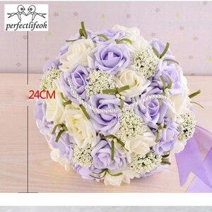 Image 2 - Perfectlifeoh bonito roxo buquê de casamento todos os buquês de casamento de flores de noiva pérolas artificiais flor rosa ramos de novia