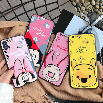 For iPhone X Winnie Pooh Piglet Face Mickey Minnie Mouse Tempered Glass PC TPU Case For iPhone 6 6S 7 8 Plus winnie the pooh iphone case
