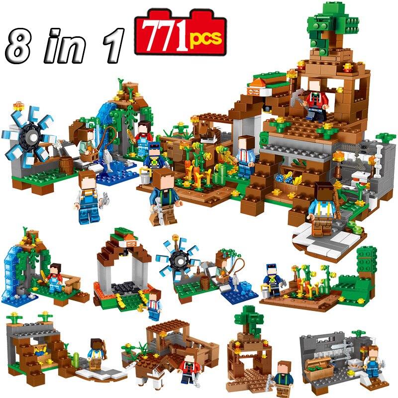 8 Sets/lot Minecraft Puzzle Blocks Toys Manor My World Model Building Puzzle Bricks Set Assembly Legoed Toys Gift For Kids #E loz toys m s hamburg sets blocks sushi model building blocks sets lot educational assembled plastic toy bricks kids toys gift