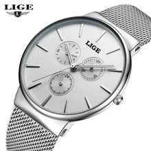 Fashion simple stylish Top Luxury brand LIGE Watches men Stainless Steel Mesh strap band Quartz-watch thin Dial Clock man 2016