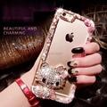 Para iphone 7 6 6 s plus 5 5c 4S samsung galaxy note 7 5 4 3 2 S5 S7 S6 Borda Plus/4/3 Que Bling Bowknot Bonito KT Gato Tampa Da Caixa Do Diamante