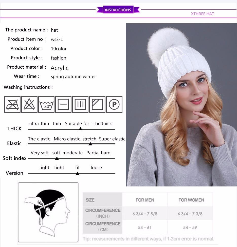591ad667 🛒[ktl2z] Xthree mink and fox fur ball cap pom poms winter hat for ...