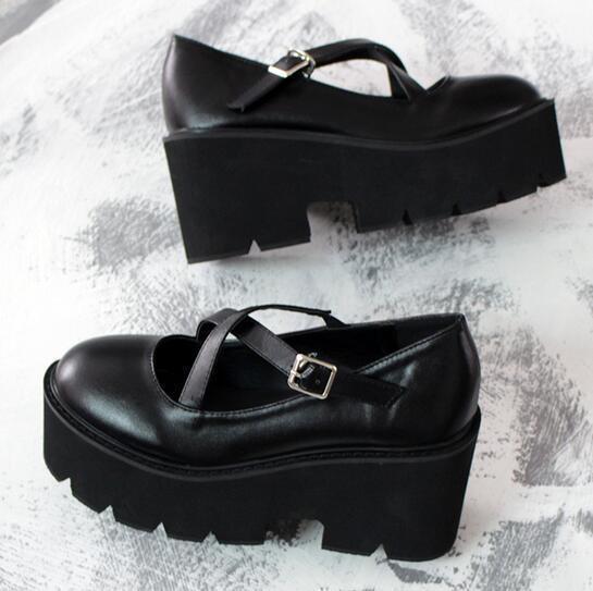 Rond Creepers Bout Lolita Chaussures Vente Compensé forme Femmes Rétro Plate B2 Chaude Talon Boucle 0EwBpq