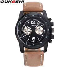 OUKESHI Brand Fashion Men Sport Watches Casual Leather Band Waterproof Quartz Wristwatch Military Watch Clock Reloj Mujer Gift