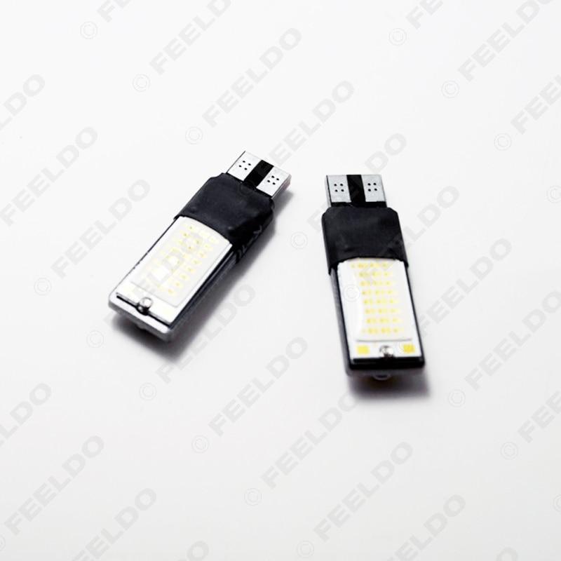 FEELDO 4Pcs DC12V T10 194 W5W No Error Canbus 5W LED Wedge 2-Side COB Car Interior LED Bulb Light Side Lamp