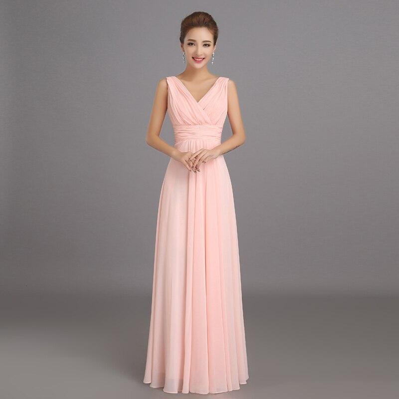 melocotón vestido de dama de rosa largo de la gasa barato vestido de