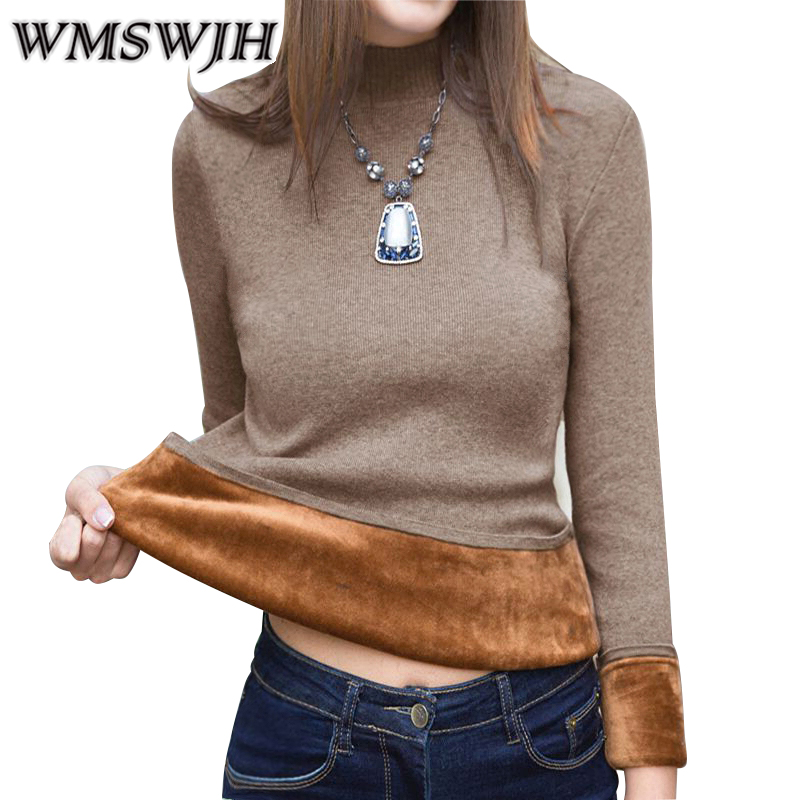 Women Sweater Winter Plus Size Knitted Sweater Women's Turtleneck Bottoming Shirt Velvet Lining Thick Warm Pullover Sweater A235