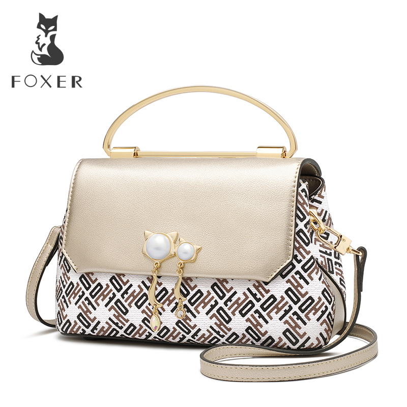 все цены на FOXER Brand 2018 New Design Female Elegant Korean version Shoulder Bag & Messenger Bags Women Hasp Flap Crossbody Bag