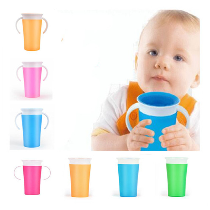1PC 360 Degree Can Be Rotated Magic Cup Baby Learning Drinking Cup LeakProof Child Water Cup Bottle 260ML