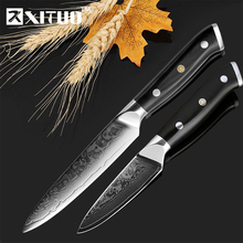 XITUO 3.5+5 Inch Kitchen Knife 2pcs Set Damascus Steel Chef Knives Professional Cooking Tools High-Quality Utility Fruit