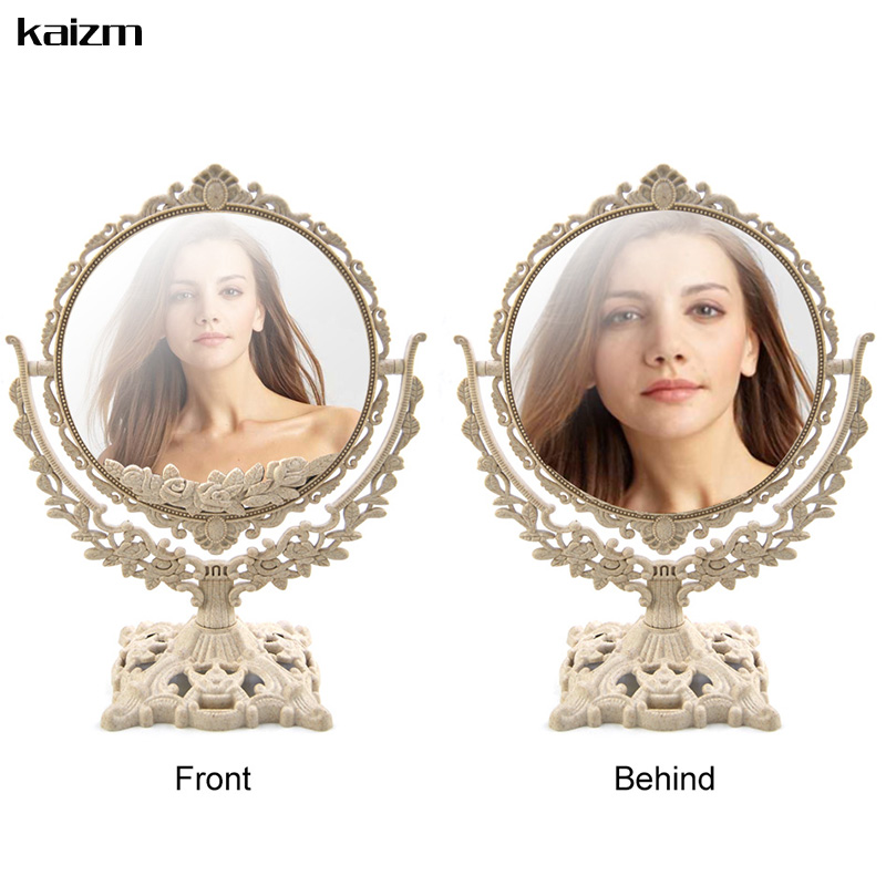 Kaizm Women Makeup Mirror Vintage Floral Oval Round Handhold Mirror Princess Elegant Makeup Beauty Tools espelho de maquiage