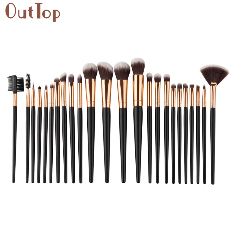 Pretty OutTop Good Quality 24PCS/1Set Cosmetic Makeup Brush Brushes Set Foundation Powder Eyeshadow Blusher Brush Gift outtop best deal new good quality pink colour sponge puff 24 pcs cosmetic makeup brushes foundation brushes tool 1 set