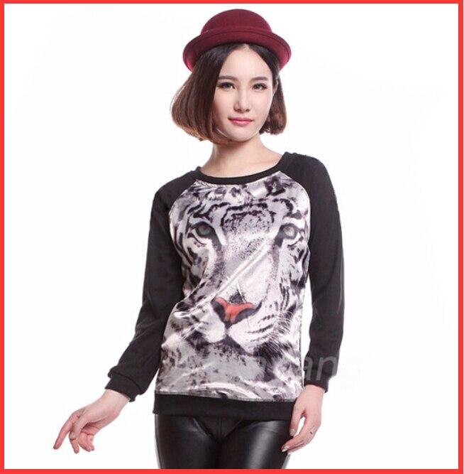 Brand New 2014 Autumn women tiger sweatshirt Animal print Loose Long sleeve Hoodies Pullovers Woman Winter Warm Sweatershirt - beautifulforever store