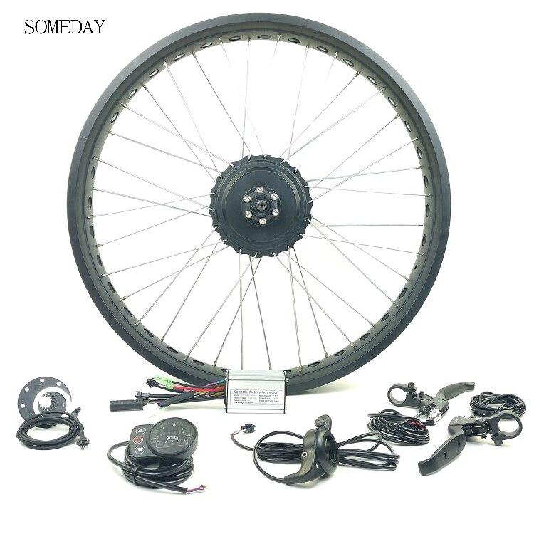 Un jour 36 V/48 V 350W vélo électrique neige vélo kit de conversion e-bike avant roue moyeu moteur avec LED900S affichage gros pneu