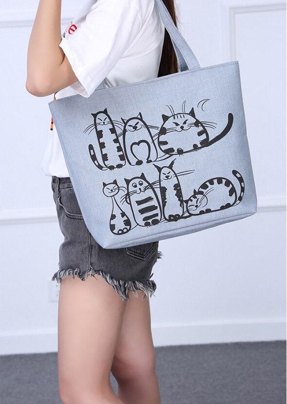 Women Canvas Handbag cartoon Cat Printed Shoulder bag Female Large Capacity  Ladies Beach Bag Women Canvas Tote Shopping Handbags 2b76beaff4146